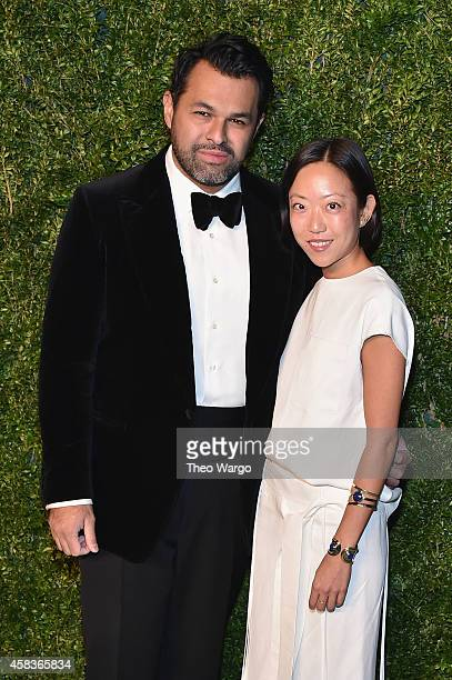 Designer Juan Carlos Obando and a guest attend the 11th annual CFDA/Vogue Fashion Fund Awards at Spring Studios on November 3 2014 in New York City