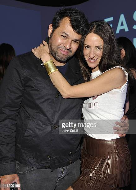 Designer Juan Carlos Obando and Jane Ross attend the British Fashion Council's LONDON Show ROOMS LA opening cocktail party at Smashbox Studios on...