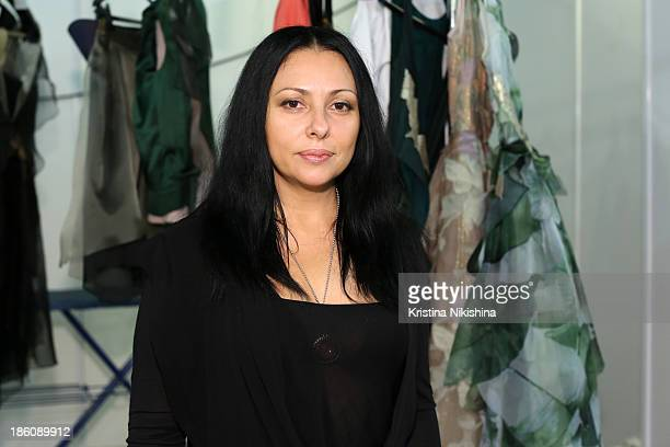Designer Julia Dalakian is seen backstage at the Julia Dalakian show during MercedesBenz Fashion Week Russia S/S 2014 on October 28 2013 in Moscow...