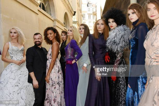 Designer Julien Fournie, Miss France 2014 Flora Coquerel and his models attend the Julien Fournie Haute Couture Fall/Winter 2019 2020 show as part of...