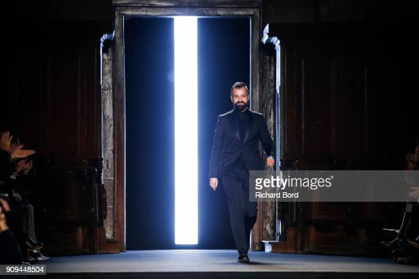 Designer Julien Fournie walks the runway after the Julien Fournie Haute Couture Spring Summer 2018 show as part of Paris Fashion Week on January 23,...