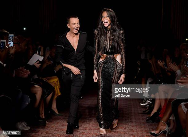 Designer Julien Macdonald and model Winnie Harlow walk the runway at the Julien Macdonald show during the London Fashion Week February 2017...
