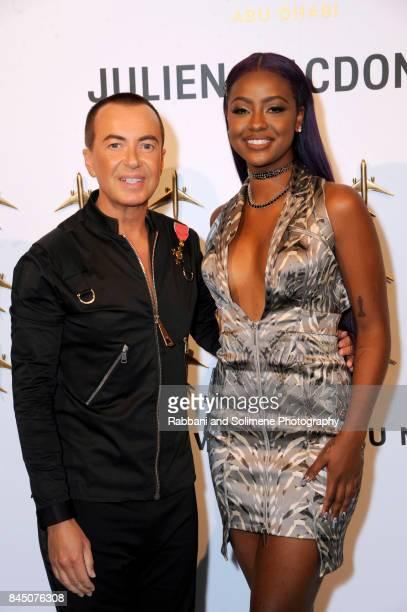 Designer Julien Macdonald and Singer Justine Skye attend Etihad Airways Celebrating Runway To Runway With Special Guest Julien MacDonald Obe at...