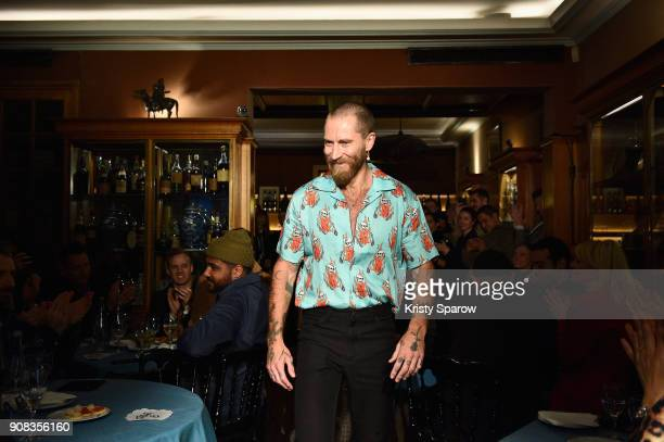 Designer Justin O'Shea arrives on the runway during the SSS World Corp X Wes Lang Menswear Fall/Winter 20182019 show as part of Paris Fashion Week at...