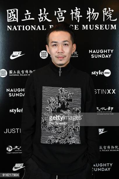 Designer Justin, Yu-Ying Chou, poses backstage for the Just In XX - Presentation at Gallery II at Spring Studios on February 9, 2018 in New York City.