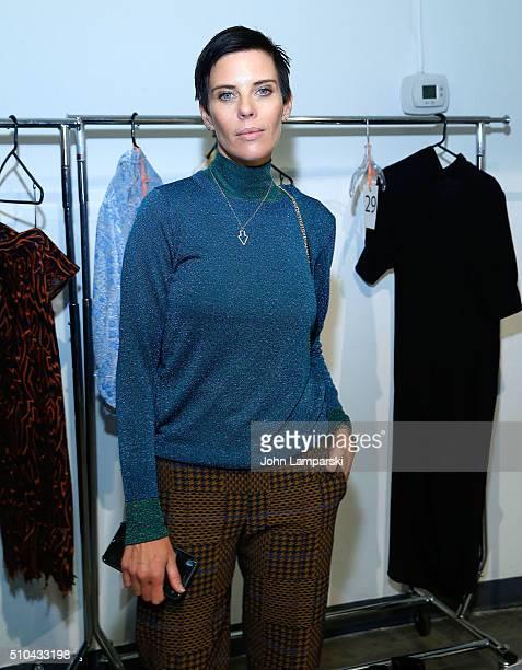 Designer Karen Walker attends Karen Walker show Fall 2016 New York Fashion Week at Pier 59 Studios on February 15, 2016 in New York City.
