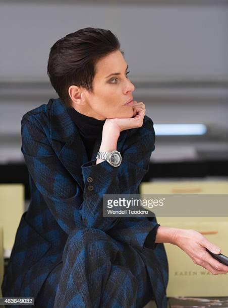 Designer Karen Walker attends the Karen Walker fashion show during Mercedes-Benz Fashion Week Fall 2015 at Pier 59 on February 16, 2015 in New York...