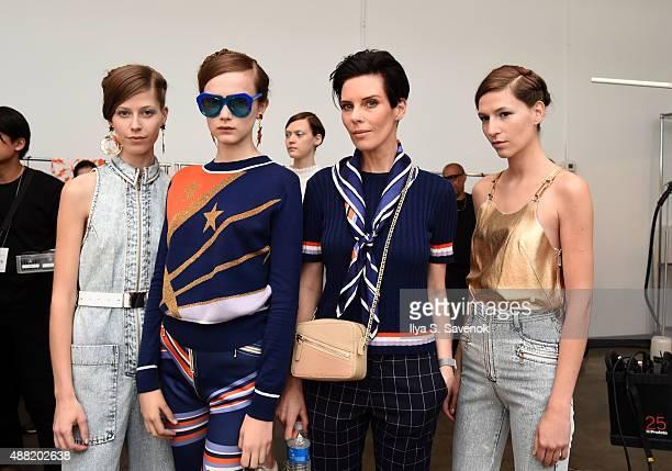 Designer Karen Walker poses with models backstage at the Karen Walker fashion show during New York Fashion Week Spring 2016 at Pier 59 on September...