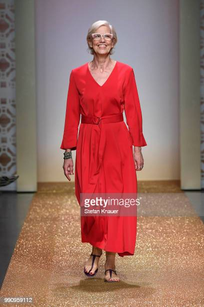 Designer Karin Veit acknowledges the applause of the audience after the Marc Cain Fashion Show during the Berlin Fashion Week Spring/Summer 2019 at...