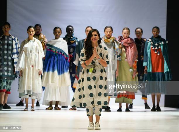 Designer Karishma Khan poses for a photo at the KaSha by Karishma Khan Fashion Show during the autumn/winter 2019 collections at South Africa Fashion...