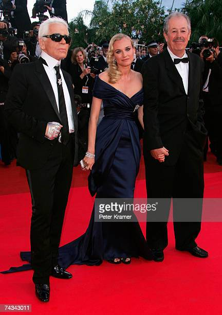Designer Karl Lagerfeld actress Diane Kruger and director Denys Arcand attend the 60th International Cannes Film Festival closing ceremony and L'Age...