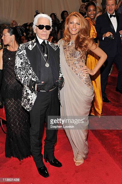 Designer Karl Lagerfeld and actress Blake Lively attend the Alexander McQueen Savage Beauty Costume Institute Gala at The Metropolitan Museum of Art...