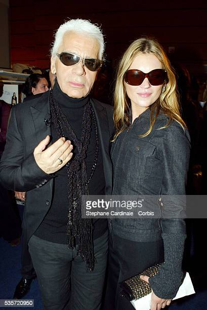 Designer Karl Lagerfeld and Kate Moss