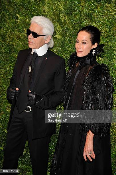 Designer Karl Lagerfeld and Lady Amanda Harlech attend the 7th Annual CFDA/Vogue Fashion Fund Awards at Skylight SOHO on November 15 2010 in New York...