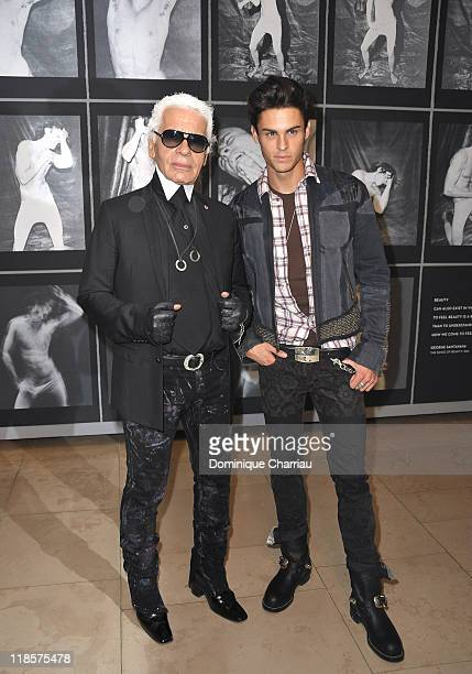 Designer Karl Lagerfeld and model Baptiste Giabiconi attend Karl Lagerfeld Exhibition Launch at Maison Europeenne de la Photographie on September 14...