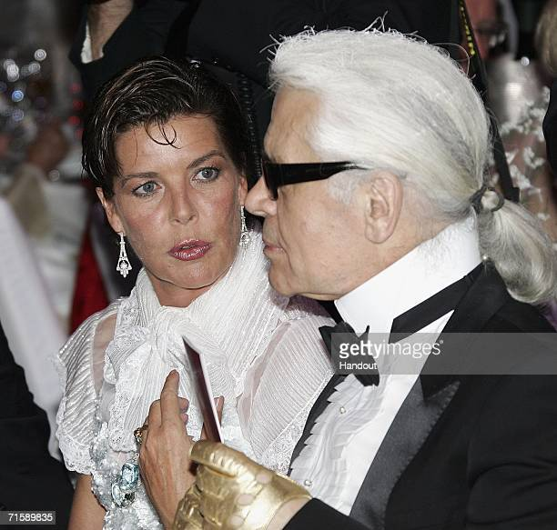 Designer Karl Lagerfeld and Princess Caroline of Hanover attend the Monaco Red Cross Ball under the Presidency of HSH Prince Albert II in the Salles...