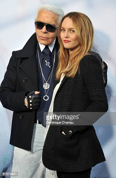 Designer Karl Lagerfeld and Vanessa Paradis attend the Chanel Ready to Wear show as part of the Paris Womenswear Fashion Week Fall/Winter 2011 at...