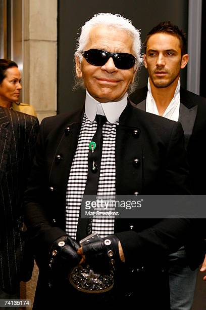 Designer Karl Lagerfeld arrives at Kaleidoscopic Vision of a Car Audi R8 by Karl Lagerfeld on May 12 2007 in New York City