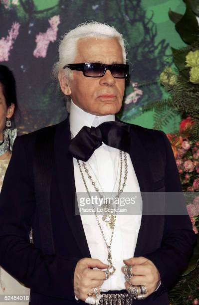 Designer Karl Lagerfeld arrives at the Rose Ball 2005 at The Sporting Monte Carlo on March 19 2005 in Monte Carlo Monaco