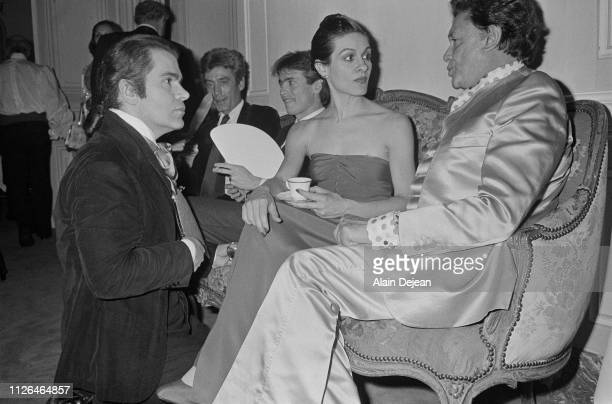 Designer Karl Lagerfeld at Wedding party of Paloma Picasso and playwright Rafael LopezCambil
