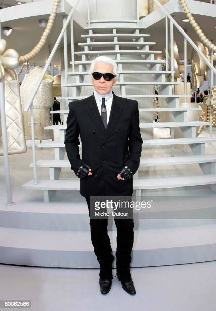 Designer Karl Lagerfeld attends the Chanel Fashion show during Paris Fashion Week FallWinter 20082009 at the Grand Palais on February 29th 2008 in...