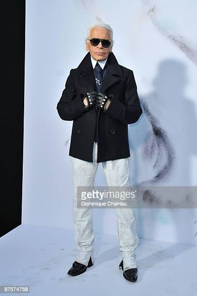 Designer Karl Lagerfeld attends the Chanel Ready to Wear show as part of the Paris Womenswear Fashion Week Fall/Winter 2011 at Grand Palais on March...