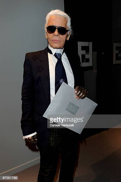 Designer Karl Lagerfeld attends the Fendi Milan Fashion Week Autumn/Winter 2010 show on February 24 2010 in Milan Italy