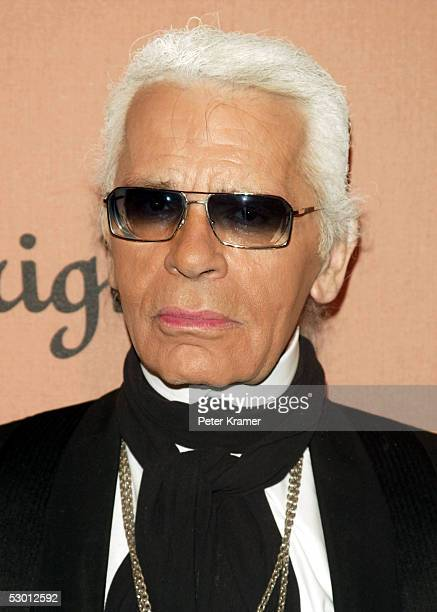 Designer Karl Lagerfeld attends the launch party for the new Dom Perignon Vintage 1998 Champagne hosted by Karl Lagerfeld on June 2 2005 in New York...