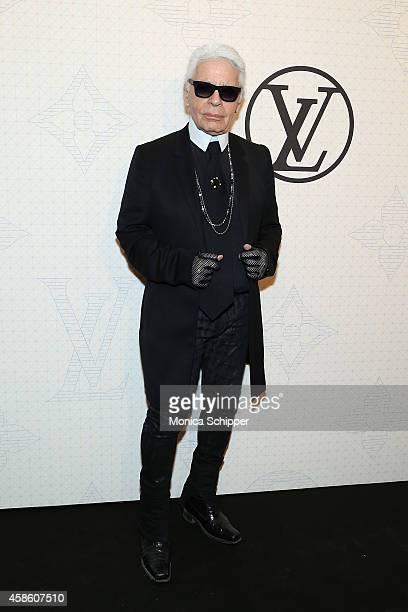 Designer Karl Lagerfeld attends the Louis Vuitton Monogram Celebration at Museum of Modern Art on November 7 2014 in New York City