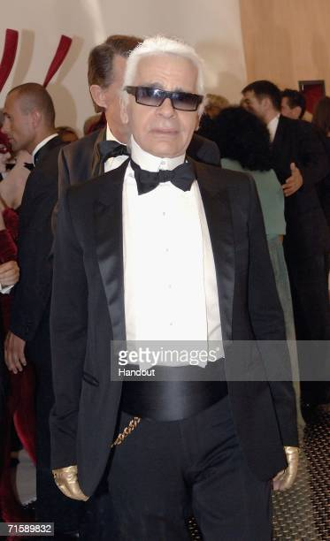Designer Karl Lagerfeld attends the Monaco Red Cross Ball under the Presidency of HSH Prince Albert II in the Salles des Etoiles at the Sporting...