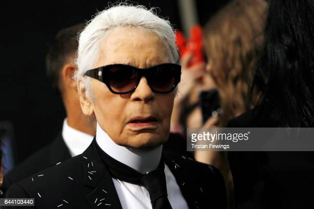 Designer Karl Lagerfeld is seen backstage ahead of the Fendi show during Milan Fashion Week Fall/Winter 2017/18 on February 23 2017 in Milan Italy