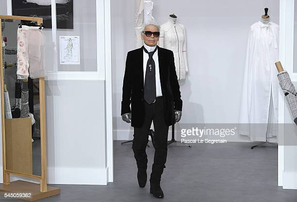 Designer Karl Lagerfeld is seen on the runway during the Chanel Haute Couture Fall/Winter 20162017 show as part of Paris Fashion Week on July 5 2016...