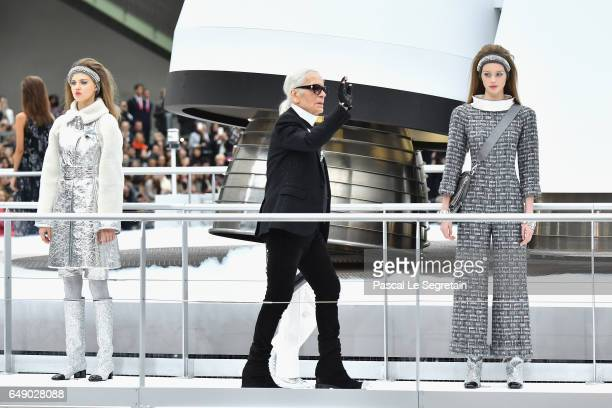 Designer Karl Lagerfeld is seen on the runway during the finale of the Chanel show as part of the Paris Fashion Week Womenswear Fall/Winter 2017/2018...