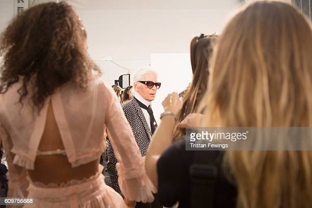 Designer Karl Lagerfeld seen backstage ahead of the Fendi show during Milan Fashion Week Spring/Summer 2017 on September 22 2016 in Milan Italy