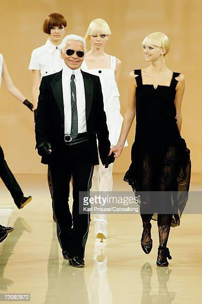 Designer Karl Lagerfeld walks down the catwalk during the Karl Lagerfeld Fashion Show as part of Paris Fashion Week Spring/Summer 2007 on October 4,...