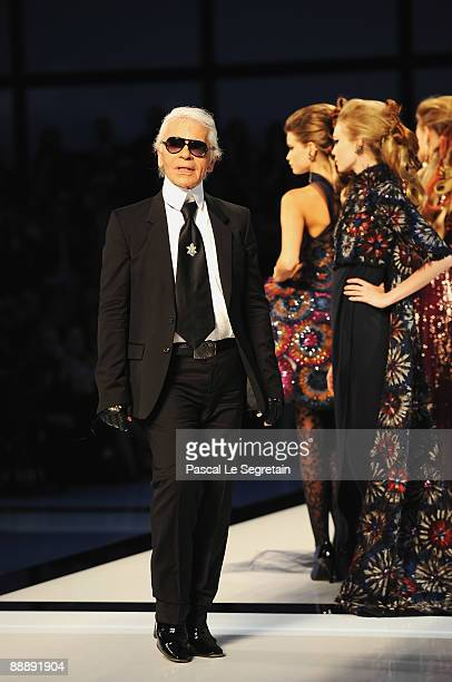 Designer Karl Lagerfeld walks the runway during Chanel as part of Paris Fashion Week Haute Couture A/W 2009/10 at Grand Palais on July 7 2009 in...