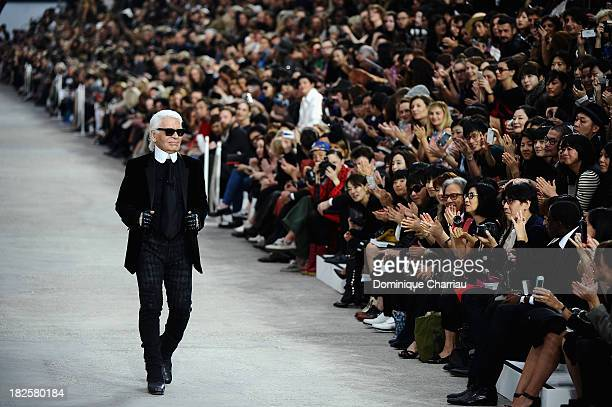 Designer Karl Lagerfeld walks the runway during Chanel show as part of the Paris Fashion Week Womenswear Spring/Summer 2014 on October 1 2013 in...