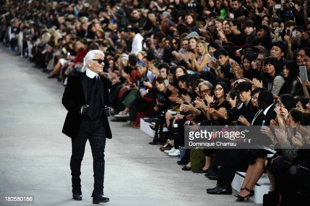 Designer Karl Lagerfeld walks the runway during Chanel show as part of the Paris Fashion Week Womenswear Spring/Summer 2014 on October 1, 2013 in...
