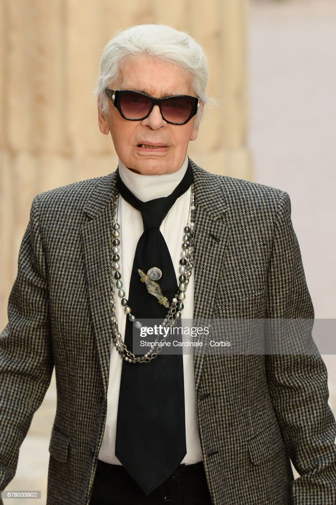 Designer Karl Lagerfeld walks the runway during the Chanel Cruise 2017/2018 Collection at Grand Palais on May 3, 2017 in Paris, France.