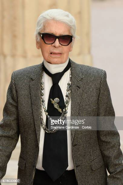 Designer Karl Lagerfeld walks the runway during the Chanel Cruise 2017/2018 Collection at Grand Palais on May 3 2017 in Paris France