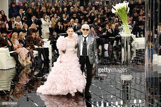 Designer Karl Lagerfeld walks the runway during the Chanel designed by Karl Lagerfeld Spring Summer 2017 show as part of Paris Fashion Week on...