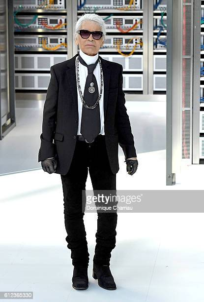Designer Karl Lagerfeld walks the runway during the Chanel show as part of the Paris Fashion Week Womenswear Spring/Summer 2017 on October 4 2016 in...