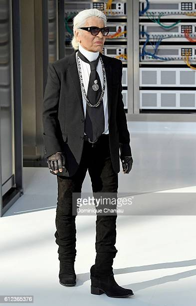 Designer Karl Lagerfeld walks the runway during the Chanel show as part of the Paris Fashion Week Womenswear Spring/Summer 2017 on October 4, 2016 in...