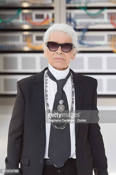 Designer Karl Lagerfeld walks the runway during the Chanel show as part of the Paris Fashion Week Womenswear Spring/Summer 2017on October 4 2016 in...