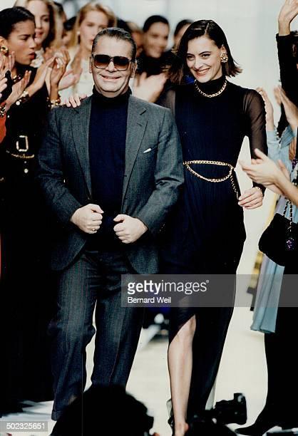 Designer Karl Lagerfeld with chanel house model Ines de La Fressarge