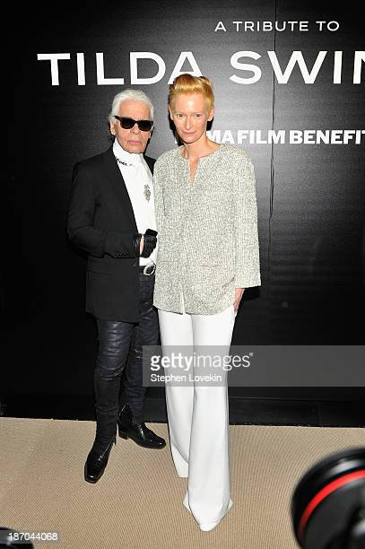 Designer Karl Lagerfield and actress Tilda Swinton attend The Museum of Modern Art Film Benefit A Tribute to Tilda Swinton reception at Museum of...