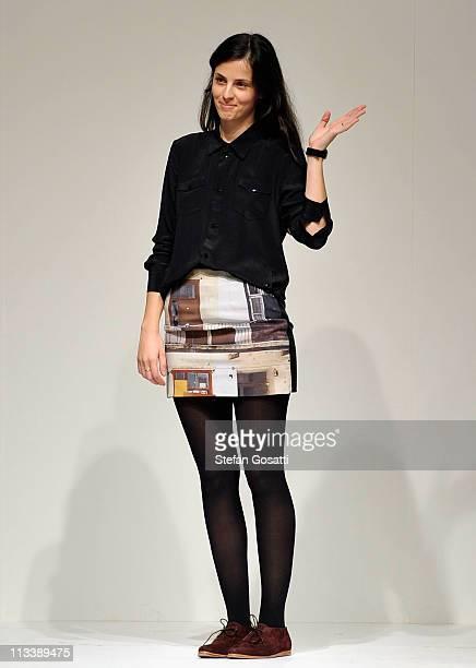 Designer Karla Spetic appears on the catwalk following her catwalk during Rosemount Australian Fashion Week Spring/Summer 2011/12 at Overseas...
