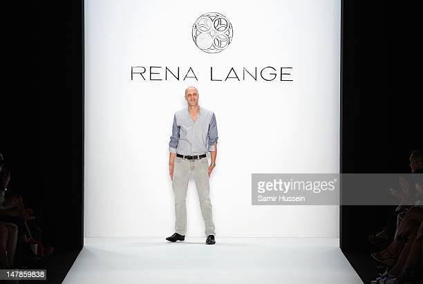 Designer Karsten Fielitz acknowledges the audience after the Rena Lange Show at Mercedes-Benz Fashion Week Spring/Summer 2013 on July 5, 2012 in...