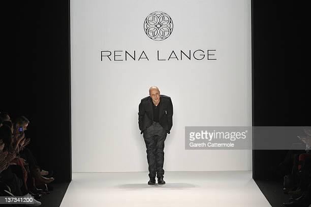 Designer Karsten Fielitz acknowledges the audience at the Rena Lange Autumn/Winter 2012 fashion show during Mercedes-Benz Fashion Week Berlin at the...
