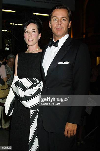 Designer Kate Spade and her husband attend the GoGo Lounge A Groovy Spring Gala Tribute to Larry Norton MD May 2 2001 at Cipriani's in New York City